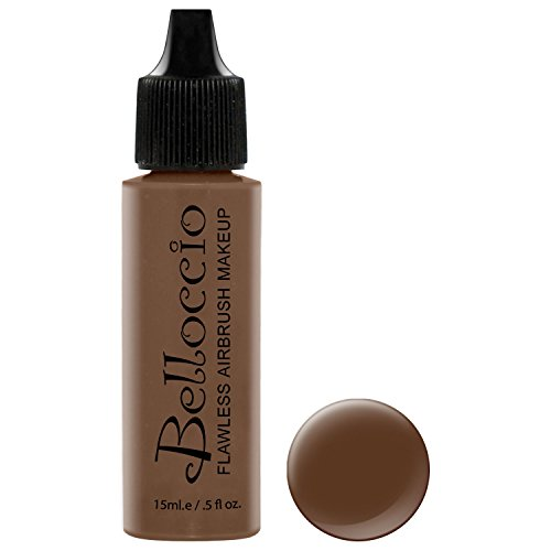 Belloccio's Professional Cosmetic Airbrush Makeup Foundation 1/2oz Bottle: Java- Dark with red and Olive Undertones (Best Foundation For Dark Skin With Red Undertone)