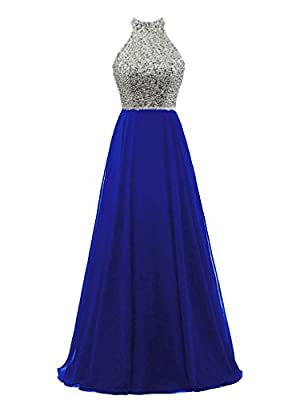 HEIMO 2017 Women's Sequins Keyhole Back Evening Party Gowns Beading Formal Prom Dresses Long H218