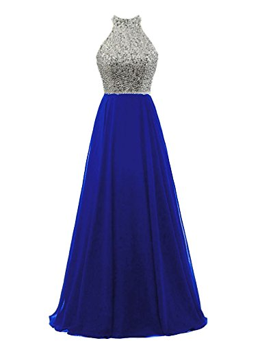 HEIMO Women's Sequins Keyhole Back Evening Party Gowns Beading Formal Prom Dresses Long H218 0 Royal Blue Sequins Halter Prom Formal Dress