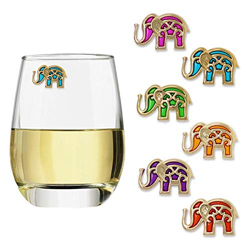 Elephant Glass Charm (Claim Your Glass BALI ELEPHANTS Cocktail/Wine Charm Drink Markers, Set of 6 - Magnetic Drink Markers for Stemmed or Stemless Glasses)