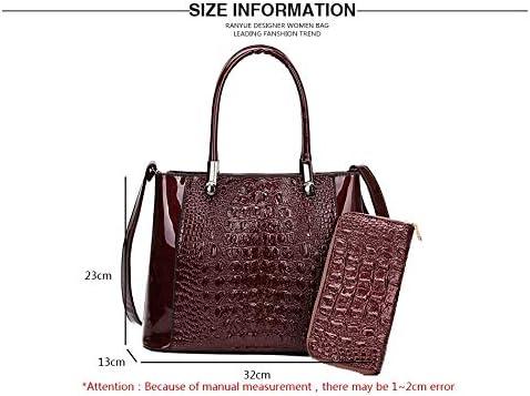 Crocodile Women Shoulder Bags Patent Leather Handbags Purses 2 Sets Large