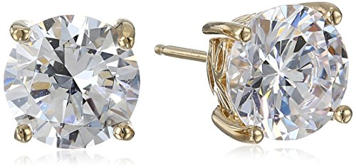 (Yellow Gold Plated Sterling Silver Stud Earrings set with Round Cut Swarovski Zirconia (5 cttw))