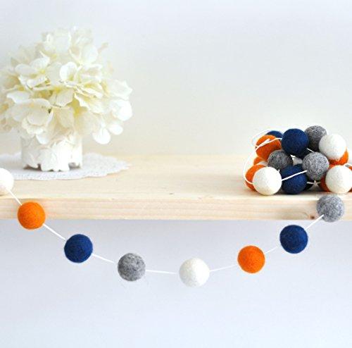 Navy Blue, Orange and Grey Boy Room Felt Ball Garland