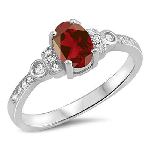 925 Sterling Silver Faceted Natural Genuine Red Garnet Oval Ring Size 8