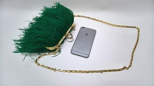 Women' Feather Shoulder Evening Clutch Green Handbag Purse Bridesmaid Bag Party Ostrich L'vow 4xHnwdd