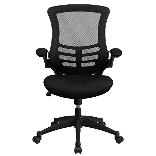 ... Mid Back Black Mesh Swivel Task Chair With Mesh Padded Seat And Flip Up  ...