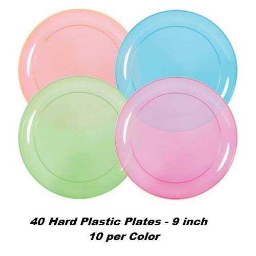 Neon Plates (9''), Cups (12 oz) & Napkins - 40 Servings, 4 colors - Black Light Party Supplies, Glow-in-the-Dark with UV Light - for Birthdays, 80s Theme, Fiesta, clubs by HeroFiber (Image #1)