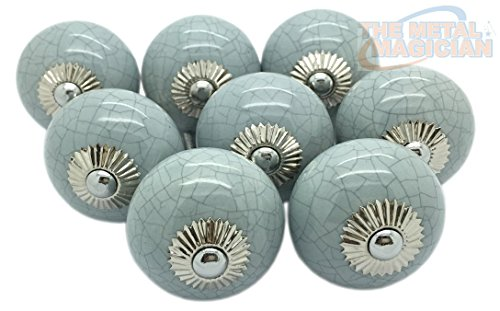 Grey Crackle Round Ceramic Door Knobs Vintage Shabby Chic Cupboard Drawer Pull Handles by The Metal Magician