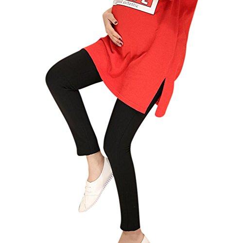 Highdas embarazada vientre Mujeres Prop altas polainas de la elasticidad de la cintura ajustable maternidad largo de tejer Pantalones para el otoño del resorte Negro