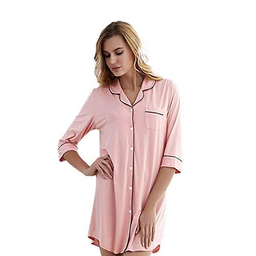 Ropa Botón Sleepshirt En Chemise V Manga Delantero De Damas Camisón Con Clásico Dormir Cuello Mujeres Pijama Flojo Cómoda Rosa Otoño Larga XE0wxgq16