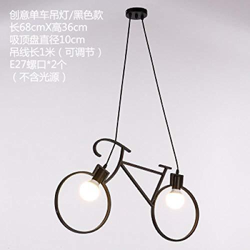 Lampe de chambre moderne chambre minimaliste moderne et créative pour enfants lampe de chambre vélo restaurant bar café vélo lustre rétro@Noir_Sans ampoule