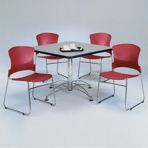Breakroom Set Four Plastic Stack Chairs and 42