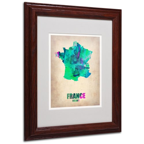 France Watercolor Map by Naxart Matted Framed Art, 11 by 14-Inch, Wood Frame from Trademark Fine Art