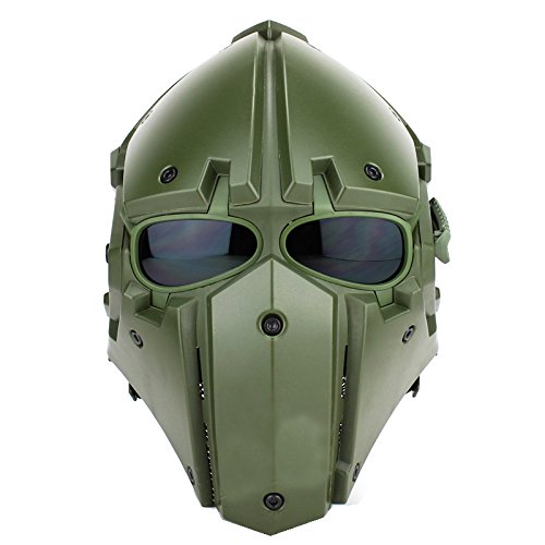 A&N Airsoft Tactical Helmet And Mask 2in1 Protective Gear Full Face Mask In Green by A&N