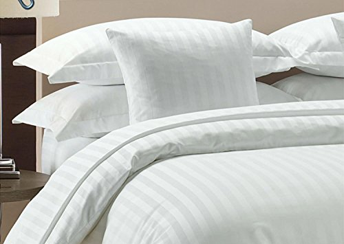 (Precious Star Linen Hotel Quality 1000TC Zipper Closer 3pc Duvet Cover Set with Corner Ties, Egyptian Cotton, White Striped, Full/Queen (90 x 90 Inch))