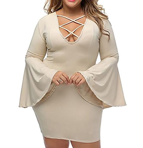 Clubwear Dress Womens V Up Solid Flare Sexy Sleeve neck Cruiize Khaki Lace 1qwZzqx