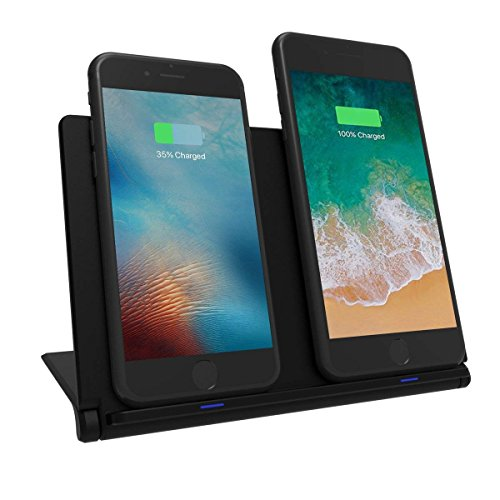 Soarking Foldable Cellphone Stand Station Dual Wireless Charging Pad Compatible with iPhone XS XR XS MAX iPhone X iPhone 8 iPhone 8 Plus Note9 S9 Note8(18W 3.0 Wall Charger AC Adapter Included)