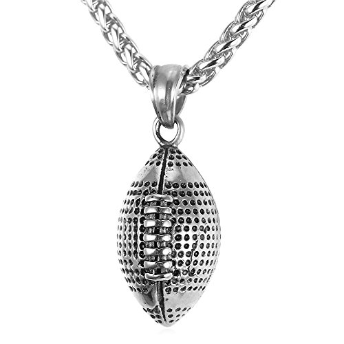 Cool Rugby Pendant Necklace Men Jewelry Fashion Stainless Steel Wheat Chain Amercian Style Football Pendant (Necklace Football Charm)