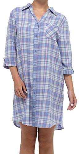 taglie Menta 8 camicia 18 notte 100 camicia da cotone flanella di notte fronte Womens completo E pulsante Check spazzolato da in Blu CawY1