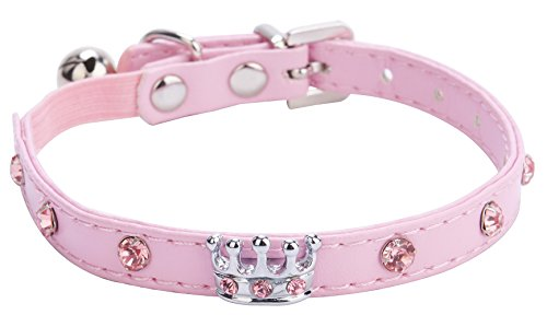 Crystal Crown Cat Collar with Bell Adjustable Pink
