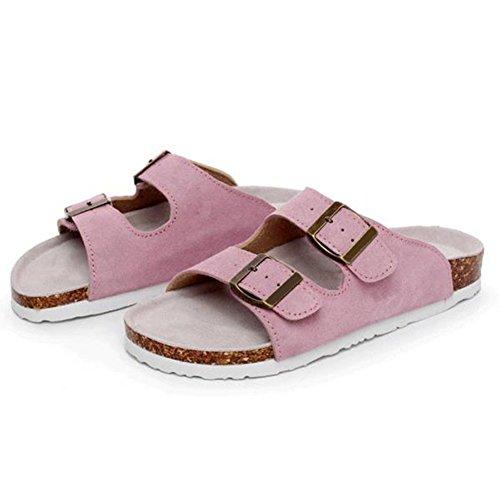 Casual Slippers Pink Double Buckle Summer Nubuck Sandals Cork Solid ZHOUZJ Beach wXa16