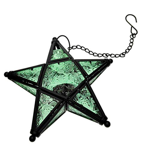 (Flameer Metal Star Hanging Moroccan Style Candle Lantern Glass Candle Holder -20x18cm/7.87x7.08inch - Green )
