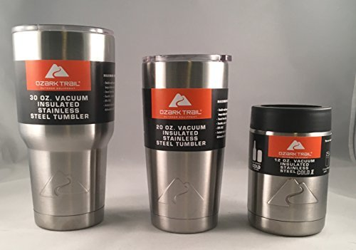 Ozark Double-Wall Insulated Stainless Steel Tumbler Set of 20 & 30 Oz and 12 oz Can Cooler Cup