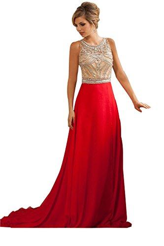 NINI.ALDY Women's Jewel Empire Waist Long Beading Crystal Formal Prom Dress Red US10