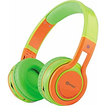 ... Wireless Headphones KB2600 | 85db Volume Limiter Limiting, Built-in Microphone Includes AUX Wired Audio Cable Kid Safe for Boys Girls (Green/ Orange)