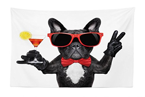 Lunarable Funny Tapestry, French Bulldog Holding Martini Cocktail Ready for The Party Nightlife Joy Print, Fabric Wall Hanging Decor for Bedroom Living Room Dorm, 45 W X 30 L inches, Black Red White