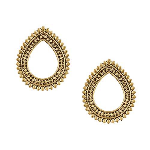 Bodha 18K Antique Gold Stylish Oxidised Afghani Stud Hoop Earrings For Women (SJ_1383)