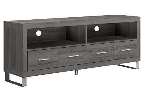 Monarch Specialties , TV Console with 4 Drawers, Dark Taupe Reclaimed-Look, 60 L