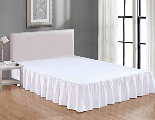 Sheets & Beyond Wrap Around Solid Luxury Hotel Quality Fabric Bedroom Dust Ruffle Wrinkle and Fade Resistant Gathered Bed Skirt 14 Inch Drop (Queen, White)