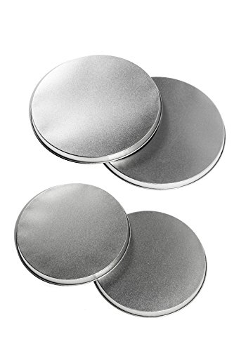 Stove Top Burner Covers – for Electric Stoves – Round Tin Burner Covers – Silver – Small / Large – 4 Piece Set – 10″ & 8″