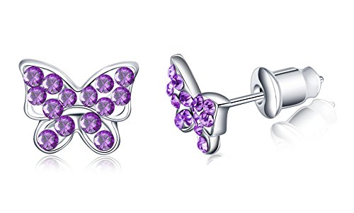 Buyless Fashion Surgical Stainless Steel Butterfly Stud Earrings - Tanzanite (Childrens Butterfly Earrings)