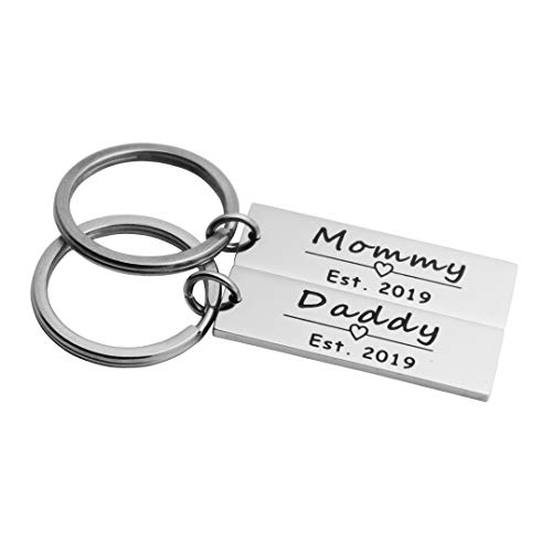 Ankiyabe Mommy and Daddy Est 2019 Set of 2 Rectangle Keychain New Parent Gift New Mom and Dad Gift Pregnancy Announcement