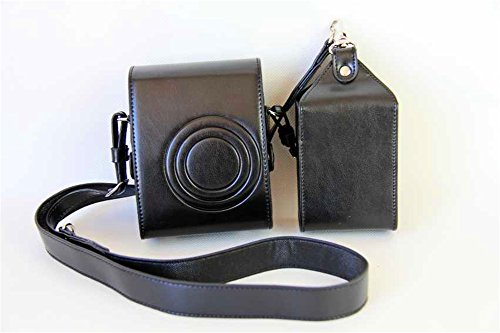 BolinUS Handmade PU Leather FullBody Camera Case Bag Cover for Fujifilm Instax Mini 90 with Neck Strap Battery Bag -Black