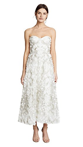 Embroidered Strapless Gown - Marchesa Notte Women's 3D Embroidered Strapless Gown, Ivory, 4
