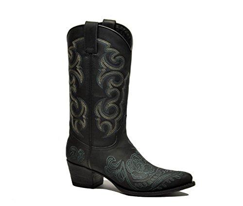Sendra Women's 14605Lavadonero Black Leather Ankle Boots