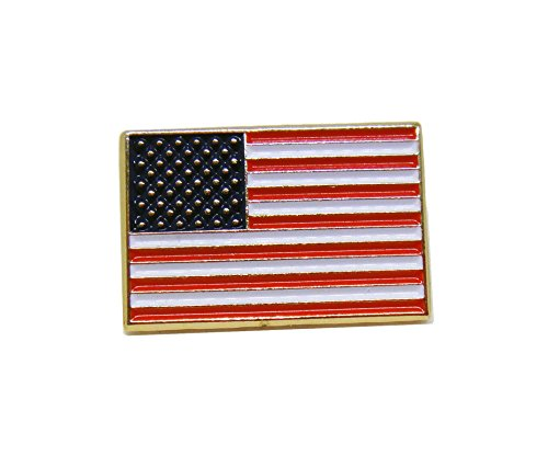 US Flag Proudy Patriotic American Rectangle Official Lapel Pin