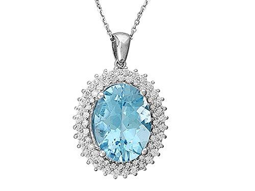 Birgie Diamants et Bijoux - Pendentif Topaze et Diamants-Femme- or Blanc 201P0060