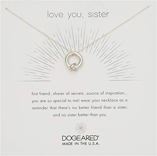 Dogeared A Necklace Wish Make - Dogeared Love You, Sister, Together Knot Charm Silver Chain Necklace, 16