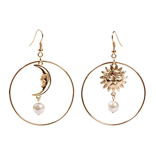 - Eiffy Crescent Moon Sun Face and Star with Imitation Pearl Drop Earrings Big Round Hoop for Women Dangle Earring Jewelry (Moon)
