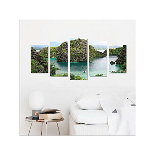 Philippine Eagle (Liguo88 Custom canvas Ocean Island Decor Wall Hanging Landscape of Majestic Cliff in Philippines Wild Hot Nature Resort Off Picture Bedroom Living Room Decor Green Brown Blue)