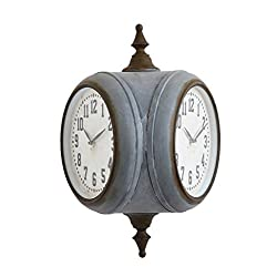 Creative Co-op Metal Double Sided 28-General Décor - Wall Clocks, Grey