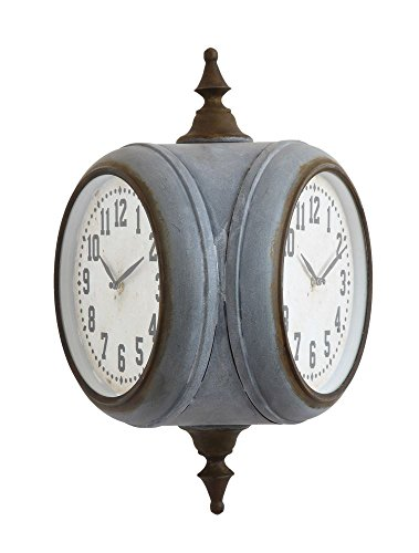 Large dual sided outdoor clock - Grey Metal Casing