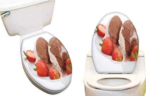 Vinyl Toilet Set Cover Paper Decor for Extreme ice Cream Serve Strawberries Fashion Toilet Seat Sticker Vinyl Art13 x18