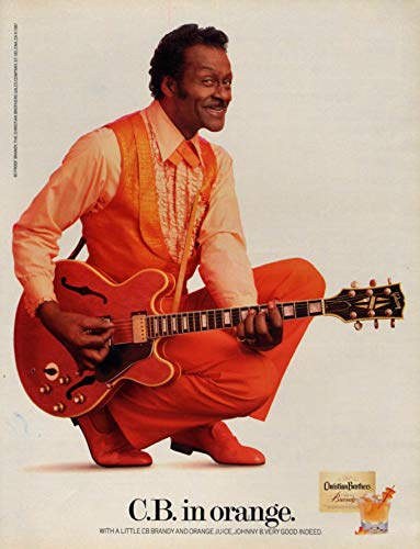 C B Chuck Berry in orange - Christian Brothers Brandy ad 1981 L