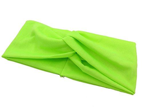 [Women Lime Headband Yoga Sports Elastic Band Stretch Hair Acc] (Lime Green Wigs)
