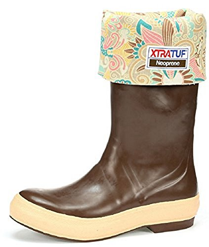 "XTRATUF Legacy Series 15"" Floral Print-Lined Neoprene Women's Fishing Boots, Copper & Tan (22812G) - Image 1"